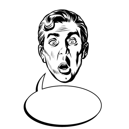 surprised man face head Ilustração