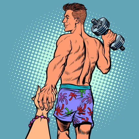 follow me man with dumbbells. sports and fitness