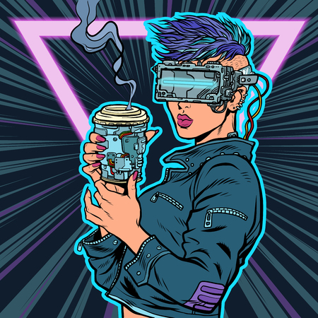 cyber woman drinks drink. virtual reality glasses. Pop art retro vector illustration vintage kitsch