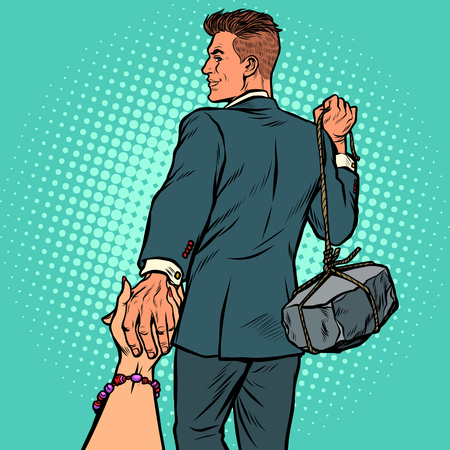 follow me businessman with a stone Illustration