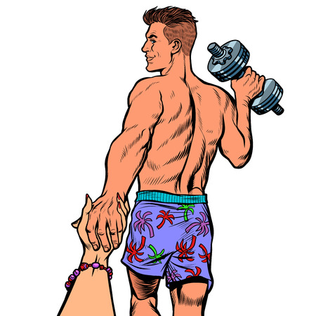 follow me man with dumbbells Vettoriali