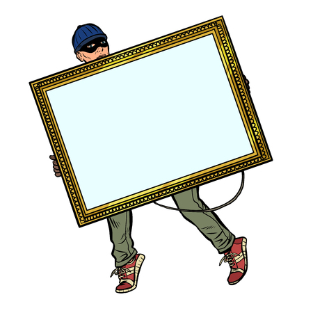 a thief steals a painting Stock Vector - 123123592