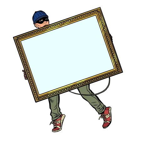 un voleur vole un tableau