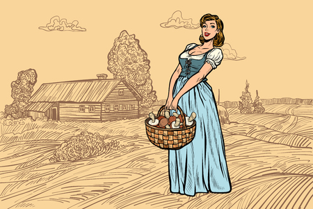 village woman with a basket of mushrooms. engraving effect. Pop art retro vector illustration vintage kitsch 일러스트