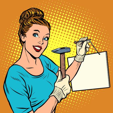 Frau nagelt eine Schilderinformationsansage. Pop-Art Retro-Vektor-Illustration Vintage-Kitsch