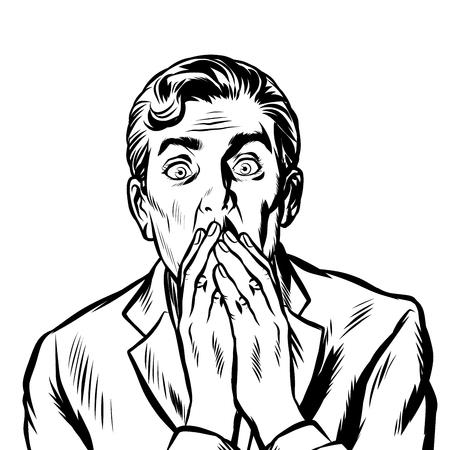 l'homme surpris se couvrit la bouche de ses mains. Pop art rétro vector illustration kitsch vintage