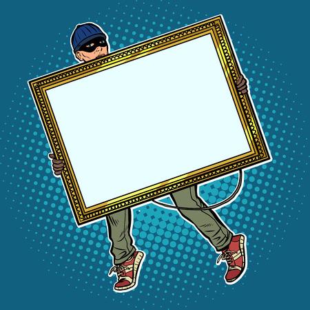 a thief steals a painting Ilustración de vector
