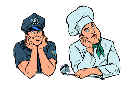 dreaming man, policeman and cook set. Pop art retro vector illustration vintage kitsch