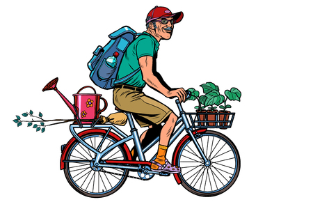 gardener old cottager on the bike. Pop art retro vector illustration vintage kitsch