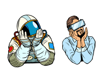 set thinker dreamer man, astronaut and man in vr glasses. Pop art retro vector illustration vintage kitsch