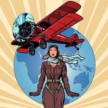 donna pilota di un aereo biplano d'epoca. Pop art retrò illustrazione vettoriale vintage kitsch