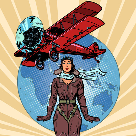 woman pilot of a vintage biplane airplane. Pop art retro vector illustration vintage kitsch