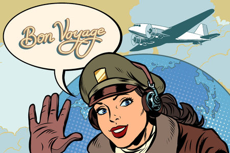 Bon voyage ragazza donna retrò pilota aviatore. Pop art illustrazione vettoriale vintage kitsch Vettoriali