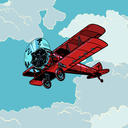 retro biplane plane flying in the clouds. Pop art vector illustration vintage kitsch 向量圖像