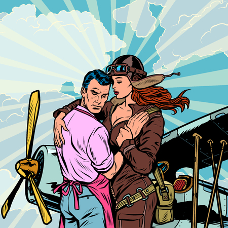 woman pilot says goodbye to a man, a couple in love with a retro plane. Pop art retro vector illustration vintage kitsch
