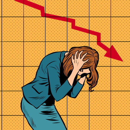pánico de la mujer de negocios, colapso financiero de la quiebra. programa de ventas hacia abajo. Pop art retro vector ilustración vintage kitsch