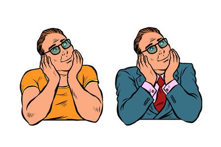 set of dreaming man, businessman and casual. Pop art retro vector illustration vintage kitsch Illustration