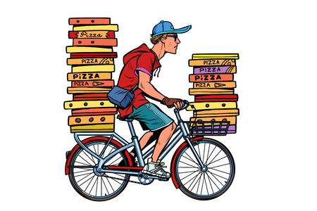 pizza delivery by Bicycle. Pop art retro vector illustration vintage kitsch Illustration