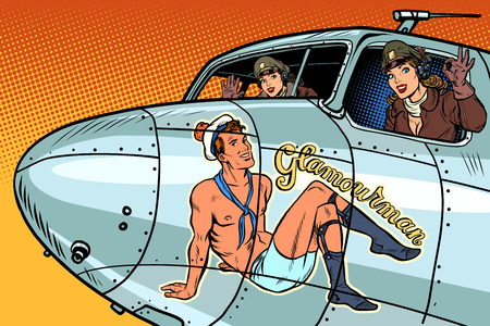 women pilots girls. Pinup man on the fuselage of a retro bomber. Pop art retro vector illustration vintage kitsch