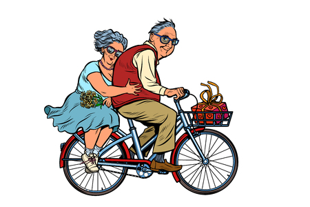old man and woman couple in love, riding a bike. active lifestyle. Pop art retro vector illustration vintage kitsch Illustration