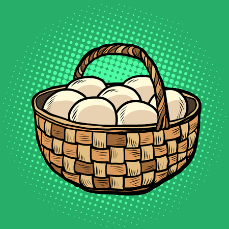 egg basket. farm products. Pop art retro vector illustration vintage kitsch