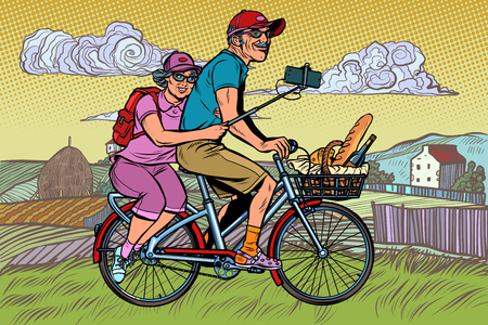 old man and old lady travelers on bike, selfie on smartphone. Pop art retro vector illustration vintage kitsch