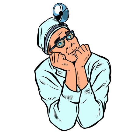 doctor otolaryngologist, medicine and health. medical professional. isolate on white background. Pop art retro vector illustration vintage kitsch Illustration