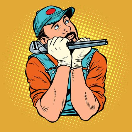 plumber with wrench dreamer thinks. Pop art retro vector illustration vintage kitsch Reklamní fotografie - 128167855