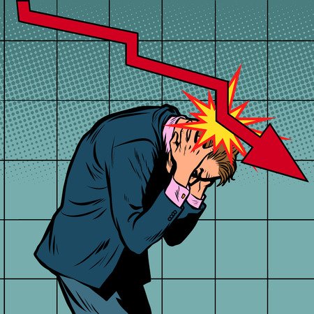 Businessman panic, the fall of shares and income, red graph downwards. Pop art retro vector illustration vintage kitsch
