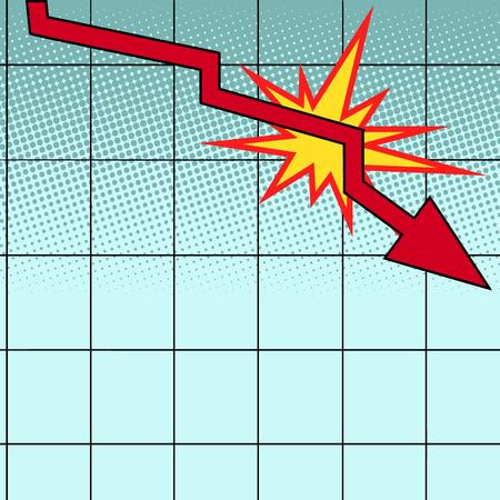 red drop chart. Pop art retro vector illustration vintage kitsch  イラスト・ベクター素材