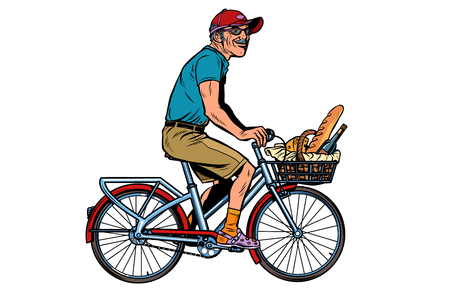 old man on bike with shopping food. Pop art retro vector illustration vintage kitsch
