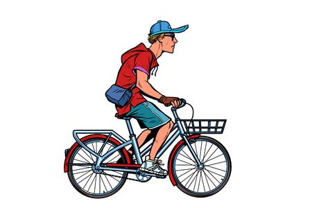 teenager guy on a city bike. Pop art retro vector illustration vintage kitsch