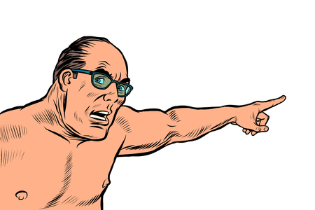 an angry man with a naked torso points. isolate on white background