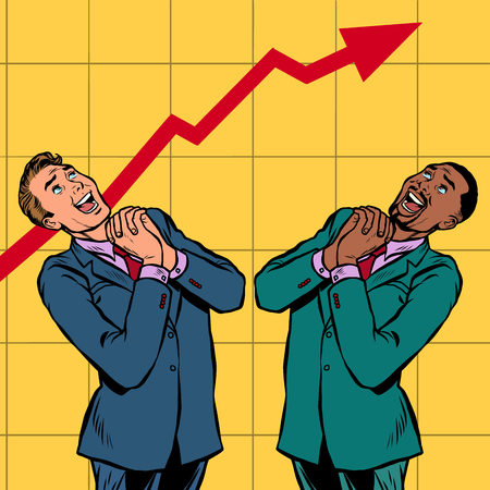 joyful Africa and Caucasian businessman growth chart. Pop art retro vector illustration vintage kitsch