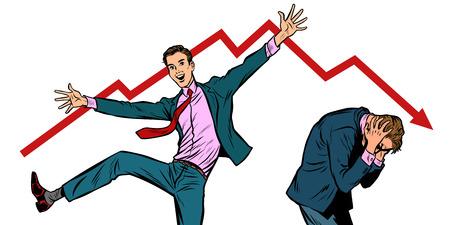 two businessmen. different emotions happiness joy smile and panic sadness fear. bankruptcy stock market crash Pop art retro vector illustration vintage kitsch