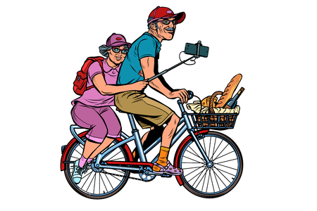 old man and old lady travelers on bike, selfie on smartphone. isolate on white background. Pop art retro vector illustration vintage kitsch