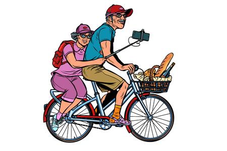 vecchio e vecchia signora viaggiatori in bicicletta, selfie su smartphone. isolare su sfondo bianco. Pop art retrò illustrazione vettoriale vintage kitsch Vettoriali