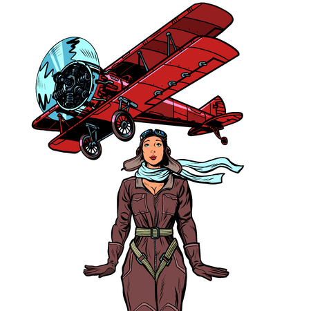 woman pilot of a vintage biplane airplane. isolate on white background Banque d'images - 125282581