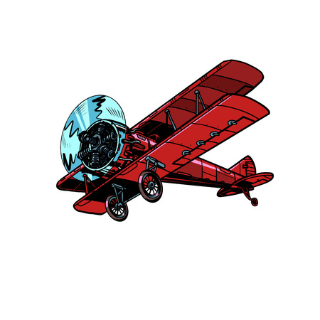 retro biplane aircraft. Pop art vector illustration vintage kitsch