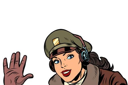 niña, mujer, retro, aviador, piloto, bienvenida, gesto