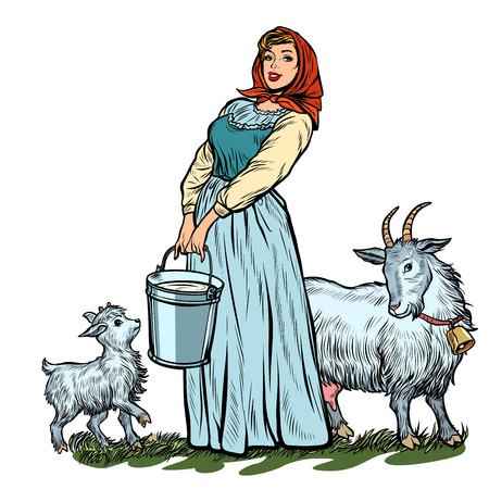 a village woman with bucket of milk goats isolate on white background. Pop art retro vector illustration vintage kitsch 50s 60s