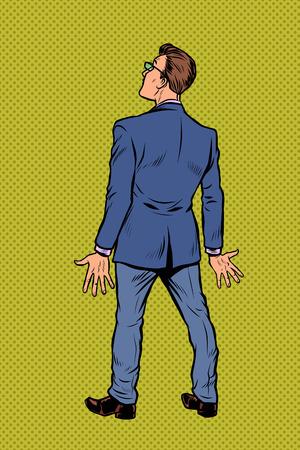 homme d'affaires prend du recul. Pop art rétro vector illustration kitsch vintage