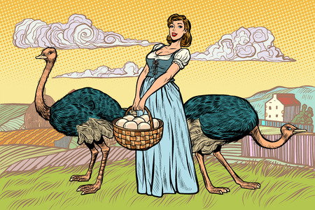 ostrich farm eggs. woman peasant farmer. Pop art retro vector illustration vintage kitsch