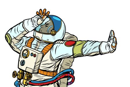 Astronaut in a spacesuit. Gesture of denial, shame, no. Pop art retro vector Illustrator vintage kitsch drawing
