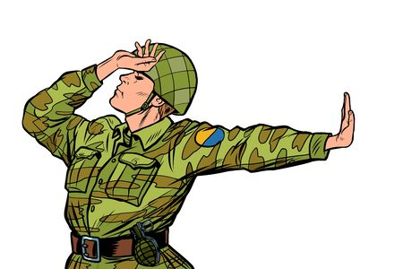 soldier in uniform shame denial gesture no. anti militarism pacifist. Pop art retro vector Illustrator vintage kitsch drawing
