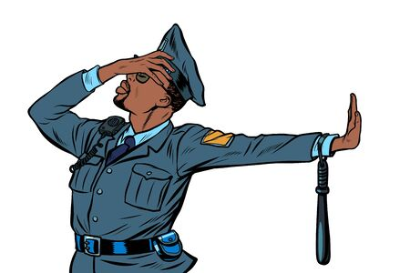african Police officer. Gesture of denial, shame. Pop art retro vector Illustrator vintage kitsch drawing