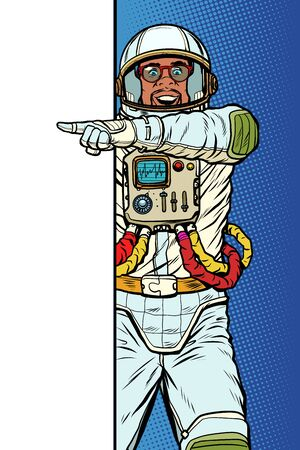african man astronaut. Point to copy space poster. Pop art retro vector Illustrator vintage kitsch drawing Illustration