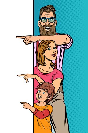 announcement advertising. family dad mom son. Pop art retro vector Illustrator vintage kitsch drawing Vectores