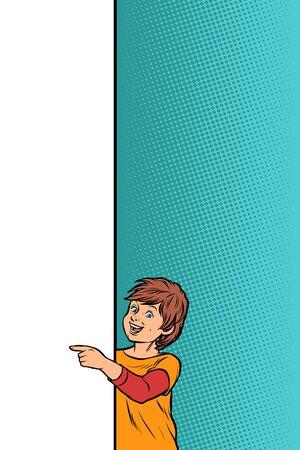 chłopiec dziecko syn pokazuje na plakat miejsca kopiowania. Pop-art retro wektor Illustrator vintage kicz rysunek