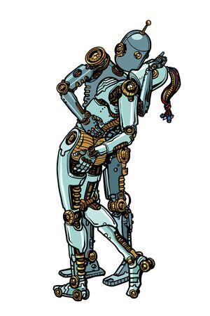 Couple d'amoureux robots s'embrassant. Pop art retro vector Illustrator dessin kitsch vintage